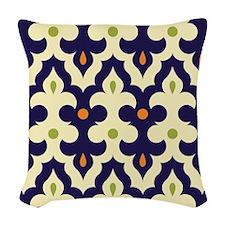 preppy damask arabesque morocc Woven Throw Pillow