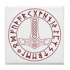 Mjölnir Rune Shield Tile Coaster