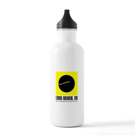 Long Beach Black Ball Flag Water Bottle