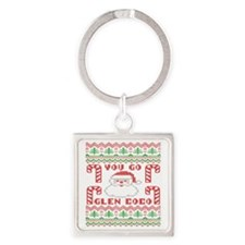 Glen Coco Candy Cane Christmas Swe Square Keychain