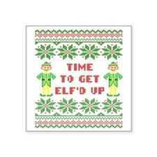 """Ugly Christmas Sweater Time Square Sticker 3"""" x 3"""""""