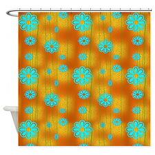 Orange And Aqua Retro Shower Curtain