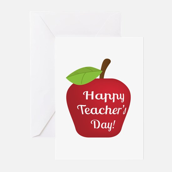 Happy Teacher Day with Big Red Apple Greeting Card