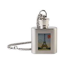VINTAGE EIFFEL TOWER Flask Necklace
