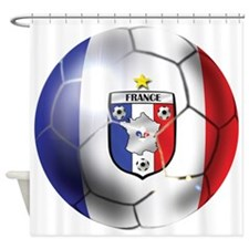 French Soccer Ball Shower Curtain