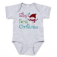 Adorable Babys First Christmas Baby Bodysuit