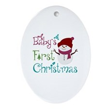 Adorable Babys First Christmas Ornament (Oval)