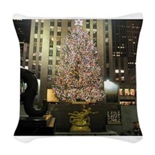 Christmas In The City Woven Throw Pillow