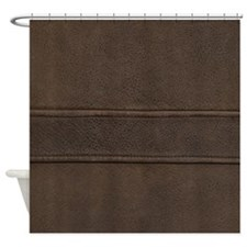 Leather Brown Seam Shower Curtain