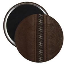 Leather Brown Zipper Magnets