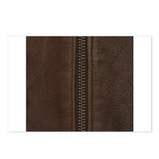 Leather Brown Zipper Postcards (Package of 8)