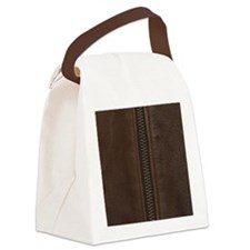 Leather Brown Zipper Canvas Lunch Bag
