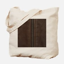 Leather Brown Zipper Tote Bag