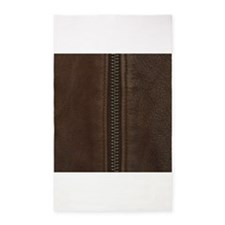 Leather Brown Zipper 3'x5' Area Rug