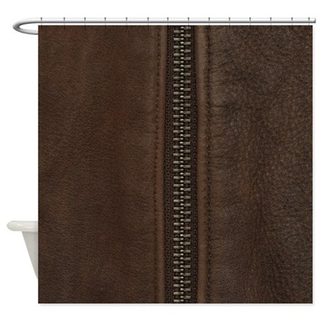 Leather Brown Zipper Shower Curtain By PatternDesigns