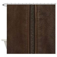 Leather Brown Zipper Shower Curtain