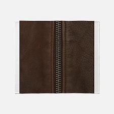 Leather Brown Zipper Throw Blanket