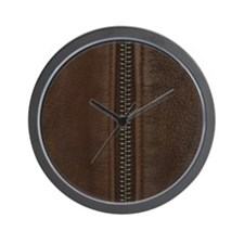 Leather Brown Zipper Wall Clock