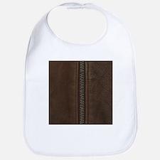 Leather Brown Zipper Bib