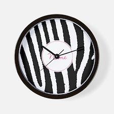 Zebra Print Custom Name Personalized Wall Clock