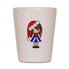 Cute Christmas Cuban Girl Shot Glass