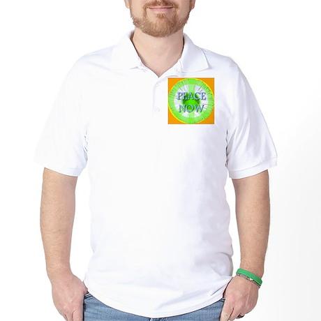 Peace Now Symbol Daisy Fleaba Golf Shirt
