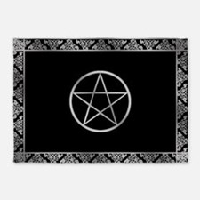 Silver Wiccan Pentacle 5 X7 Area Rug