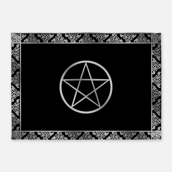 Silver Wiccan Pentacle 5'x7'Area Rug