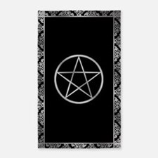 Silver Wiccan Pentacle 3 X5 Area Rug