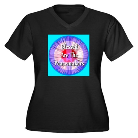 Blessed Are The Peacemakers S Women's Plus Size V-