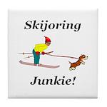 Skijoring Dog Junkie Tile Coaster