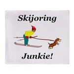 Skijoring Dog Junkie Throw Blanket