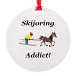 Skijoring Horse Addict Round Ornament