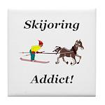 Skijoring Horse Addict Tile Coaster