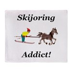 Skijoring Horse Addict Throw Blanket
