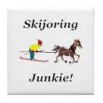 Skijoring Horse Junkie Tile Coaster