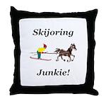 Skijoring Horse Junkie Throw Pillow