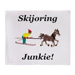 Skijoring Horse Junkie Throw Blanket