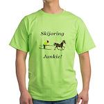 Skijoring Horse Junkie Green T-Shirt