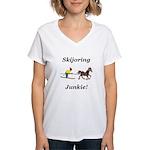 Skijoring Horse Junkie Women's V-Neck T-Shirt
