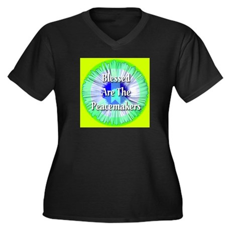 Blessed Are The Peacemakers Women's Plus Size V-Ne