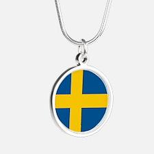 Sweden Flag Silver Round Necklace