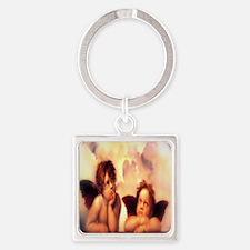 Putti Pair Angels Square Keychain
