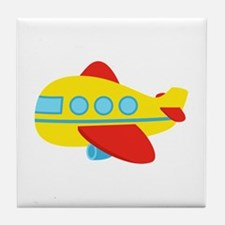 Cute Passenger Aeroplane in bright colours Tile Co