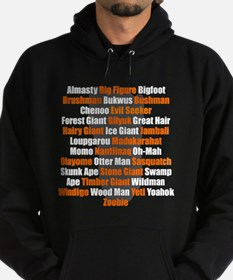 Bigfoot Names Footprint Hoodie