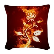 Flower on fire Woven Throw Pillow