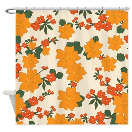 Vintage Floral Orange Shower Curtain By MyPlaceDesigns