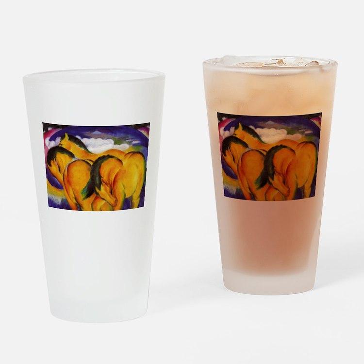 Yellow Horses Drinking Glass