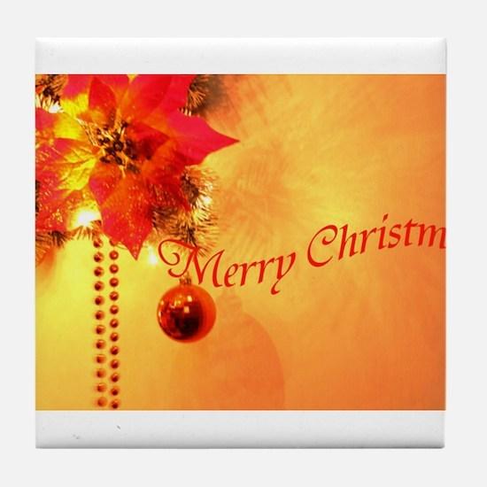 Gold merry-christmas- Tile Coaster