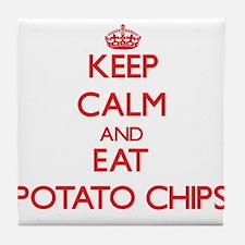 Keep calm and eat Potato Chips Tile Coaster